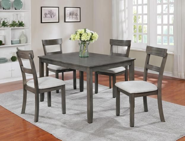 """Recent Jaxon Grey 5 Piece Extension Counter Sets With Fabric Stools Throughout Henderson Driftwood Grey 5 Piece Dinette $399.00 Table 48"""" X 36"""" X (Gallery 5 of 20)"""