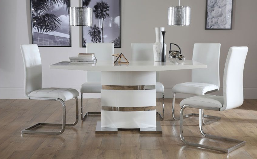 Recent Komoro White High Gloss Dining Table – With 6 Perth White Chairs Throughout Perth White Dining Chairs (View 7 of 20)