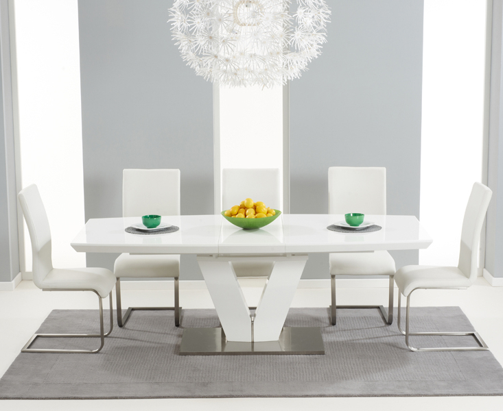 Recent Large White Gloss Dining Tables Intended For Malibu Dining Table Malibu Ivory Malibu Purple Dining Chairs (View 15 of 20)