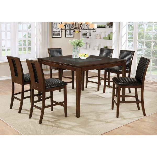 Recent Leon 7 Piece Dining Sets For Shop Furniture Of America Gileon Walnut Wood And Faux Leather (View 4 of 20)