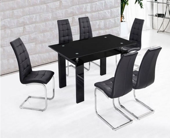 Recent Metro Dining Table Black + 6 Black New York Chairs (View 16 of 20)