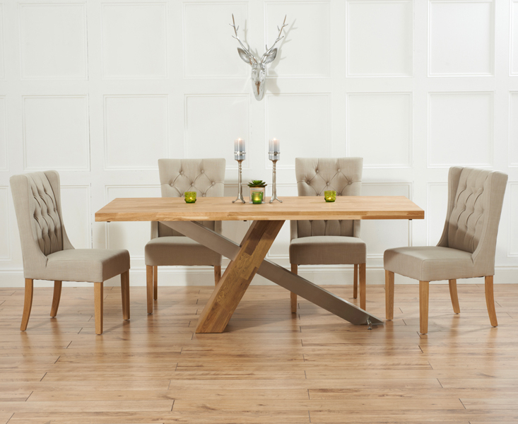 Recent Oak Dining Tables And Fabric Chairs In Chateau 225cm Solid Oak And Metal Dining Table With Safia Fabric Chairs (View 4 of 20)