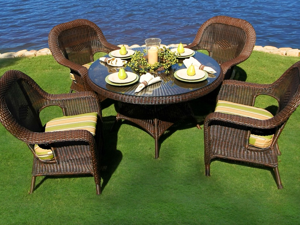 Recent Outdoor Tortuga Dining Tables Pertaining To Tortuga Outdoor Lexington Wicker 5 Piece Dining Set – Wicker (Gallery 1 of 20)