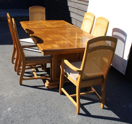 Recent Parquet 6 Piece Dining Sets With Golden Oak Parquet Extendable Table With 6 Dining Chairs, 1960S For (View 13 of 20)