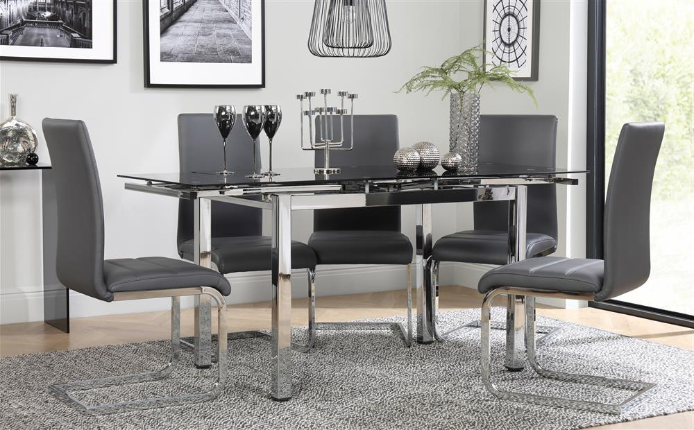 Recent Perth Glass Dining Tables Within Space Chrome & Black Glass Extending Dining Table With 4 Perth Grey (View 12 of 20)