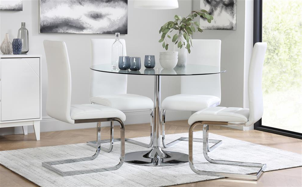 Recent Perth White Dining Chairs For Orbit & Perth Round Glass & Chrome Dining Table And 4 Chairs Set (View 16 of 20)