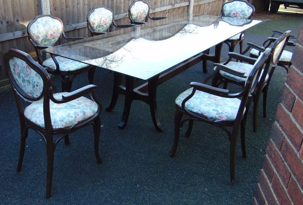 Recent Retro Vintage Shabby Chic Glass Top Dining Table And Eight Matching In Retro Glass Dining Tables And Chairs (Gallery 13 of 20)