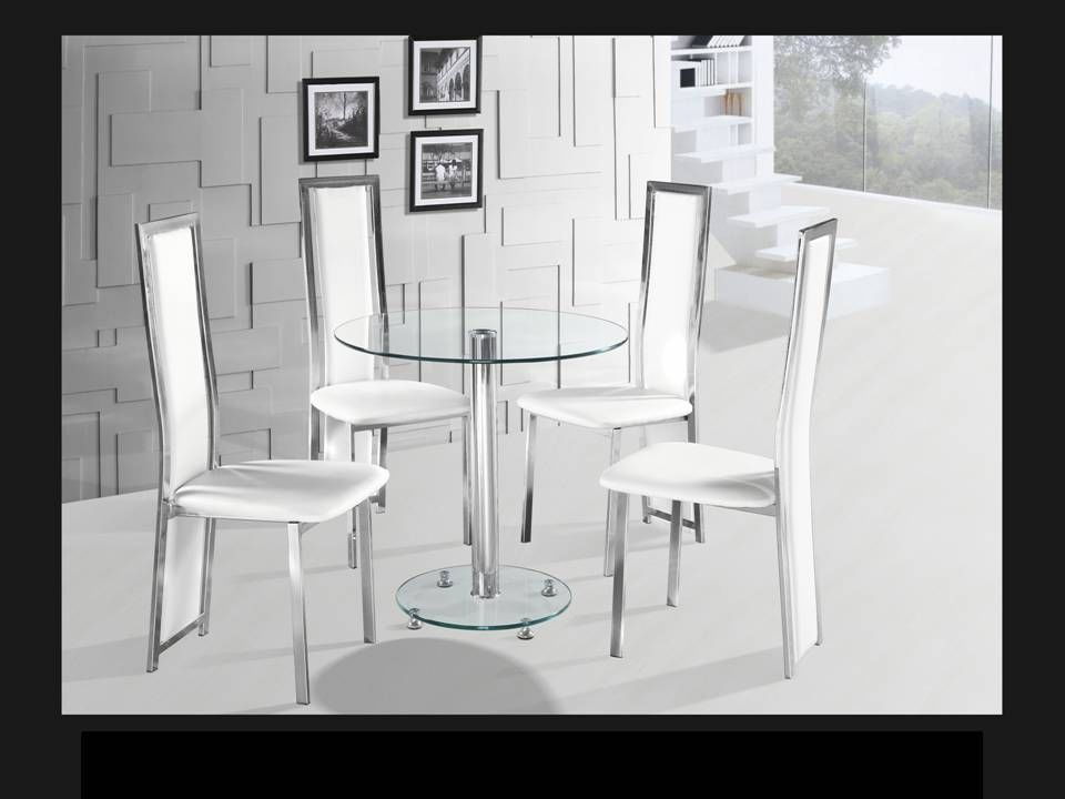 Recent Round Clear Glass Chrome Dining Table And 4 White Chairs In Glass And Chrome Dining Tables And Chairs (Gallery 10 of 20)