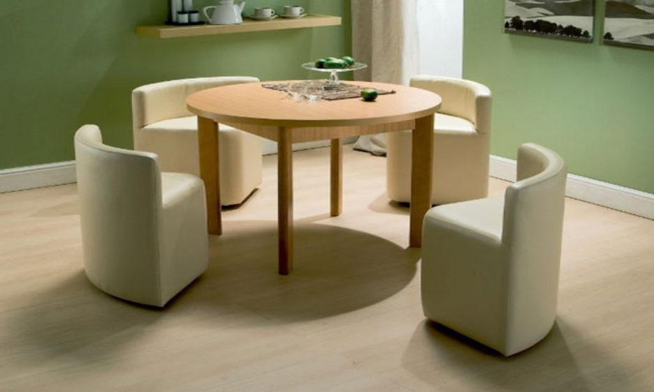 Recent Round Cream Lacquer Oak Wood Dining Table With Tall Legs Added 4 With Cream Lacquer Dining Tables (View 19 of 20)