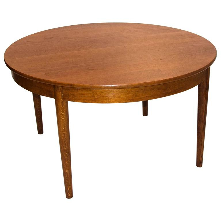Recent Round Teak Dining Tables Throughout Danish Round Teak Dining Table With Four Skirted Leavesjohannes (View 3 of 20)