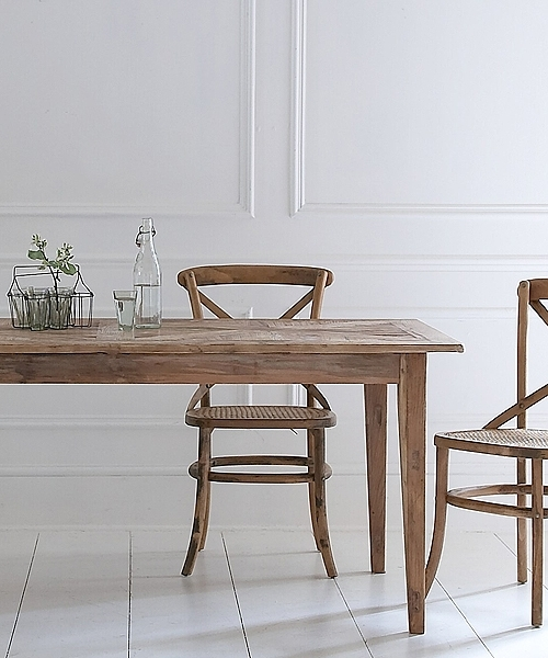 Recent Rustic Elm Parquet Top Table Throughout Parquet Dining Chairs (View 7 of 20)