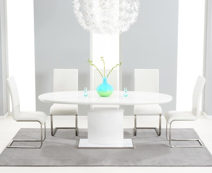 Recent Seville 180cm White Gloss Dining Set + 6 Ivory Hereford Chairs In White Gloss Dining Chairs (View 14 of 20)