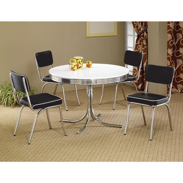 Recent Shop Coaster Company White/ Chrome Plated Metal Round Retro Dining Regarding Retro Dining Tables (View 15 of 20)