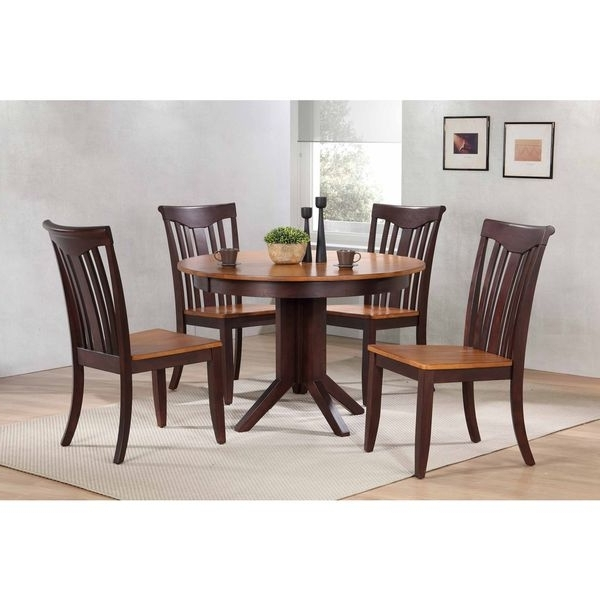 """Recent Shop Iconic Furniture Company 45""""x45""""x63"""" Contemporary Whiskey/mocha Regarding Caden 5 Piece Round Dining Sets With Upholstered Side Chairs (View 9 of 20)"""