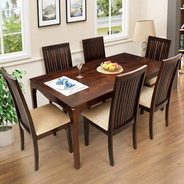 Recent Six Seater Dining Tables Regarding Ethnic Handicrafts Elmond 6 Seater Dining Set Including Dining Table (View 9 of 20)