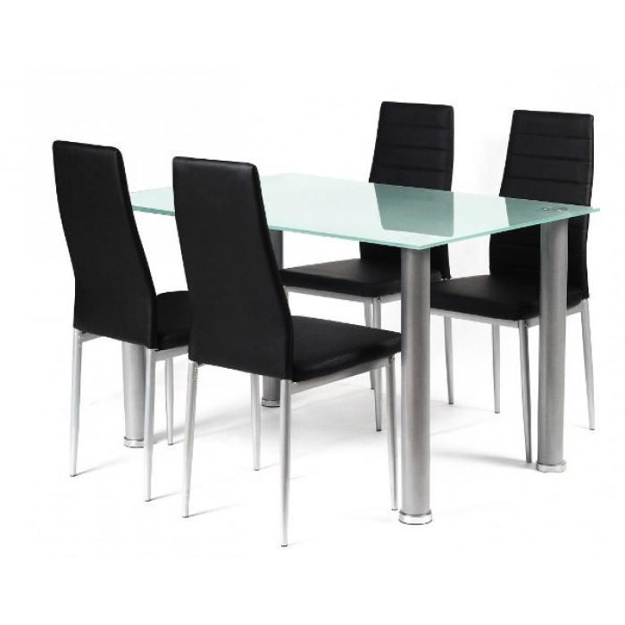 Recent Smoked Glass Dining Tables And Chairs Throughout Tatum Frosted Glass Dining Table + 4 Chairs (View 12 of 20)
