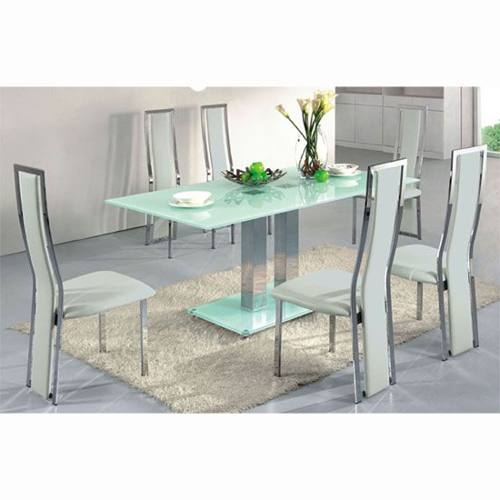 Recent Smoked Glass Dining Tables And Chairs Within Ice Dining Table In Frosted Glass With 4 Dining Chairs White (Gallery 1 of 20)