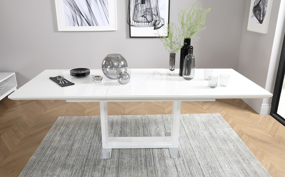 Recent Tokyo White High Gloss Extending Dining Table With 4 Soho Slate Grey Regarding Extending White Gloss Dining Tables (Gallery 3 of 20)