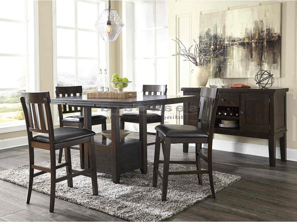 Recent Valencia 4 Piece Counter Sets With Bench & Counterstool Within Ashley D596 Haddigan Dark Brown Pub Table Set – Seaboard Bedding (View 10 of 20)