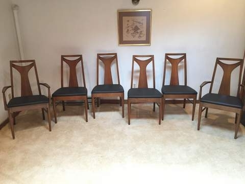 Recent Vintage Mid Century Kent Coffey Perspecta T Back Walnut Dining Inside Kent Dining Chairs (View 8 of 20)