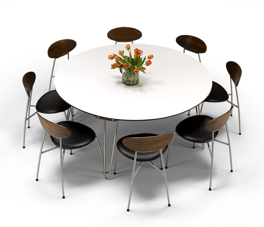 Recent White Circular Dining Tables Intended For Luxury Danish Modern Round Dining Table – Dm6690 – Wharfside (Gallery 12 of 20)