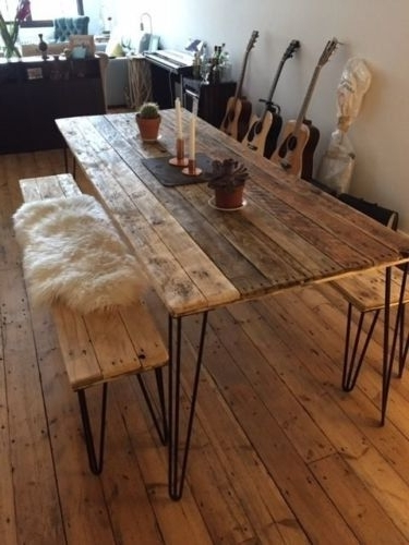 Reclaimed Wood Dining Table And X2 Benches With Hairpin Legs (View 18 of 20)