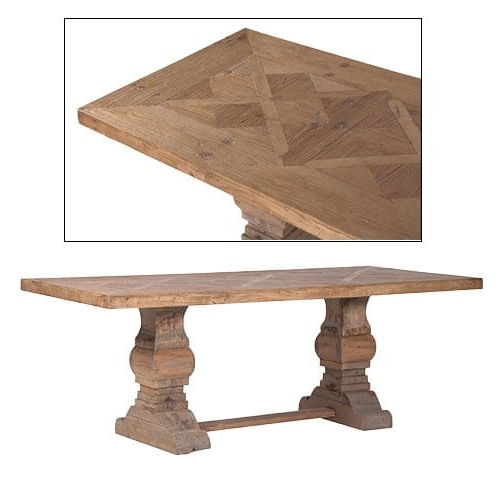 Reclaimed Wood Parquet Top Dining Table Furniture – La Maison Chic Throughout Current Parquet Dining Tables (View 7 of 20)