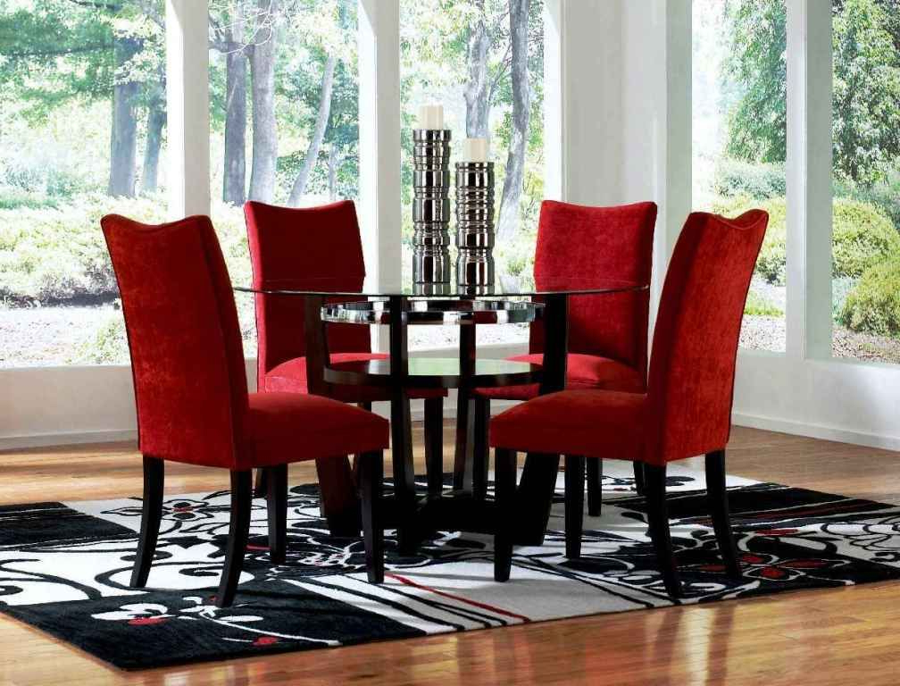 Red Dining Room Sets Cheap Round Glass Dining Table And Red Chairs Intended For Preferred Red Dining Chairs (Gallery 7 of 20)