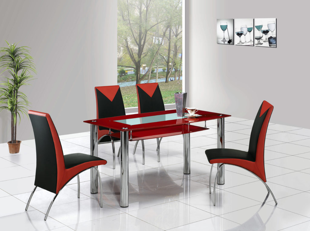 Red Dining Table Sets With Regard To Well Known Kitchen : Retro Dining Table Dining Room Lighting Red Dining Room (View 18 of 20)