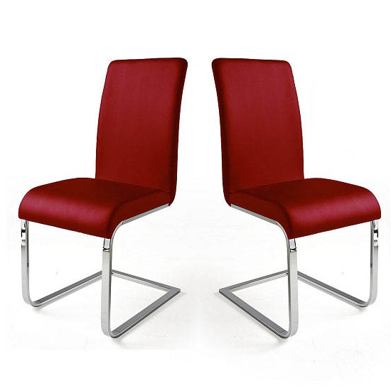 Red Leather Dining Chairs With Regard To Preferred Lotte I Red Faux Leather Dining Chair In A Pair (View 8 of 20)