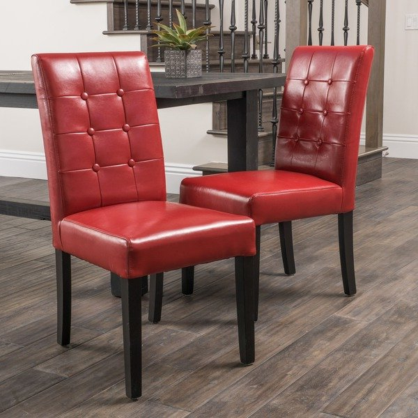 Red Leather Dining Chairs Within Preferred Shop Roland Red Bonded Leather Dining Chairschristopher Knight (Gallery 4 of 20)