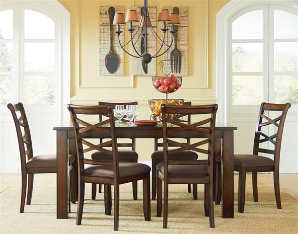 Redondo Transitional Cherry Wood Fabric Leg Table W/6 Chairs Set Throughout Trendy Market 6 Piece Dining Sets With Side Chairs (View 16 of 20)