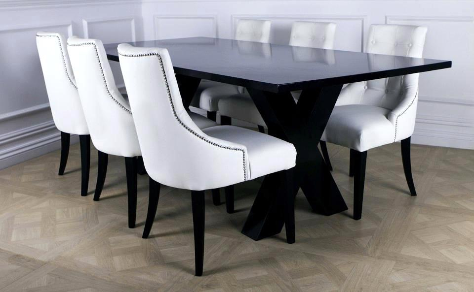 Remarkable White Leather Dining Room Chairs Modern Black Ing Room Regarding Famous White Leather Dining Room Chairs (View 6 of 20)