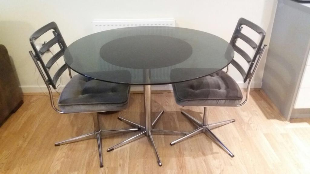 Retro Glass Dining Tables And Chairs In Favorite Vintage Retro Round Dining Set Round Glass Table 2 Revolving Chairs (View 12 of 20)