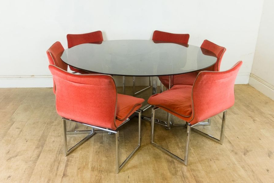 Retro Glass Dining Tables And Chairs Intended For Famous Vintage Retro Pieff Glass And Chrome Dining Table And 6 Chairs (View 13 of 20)