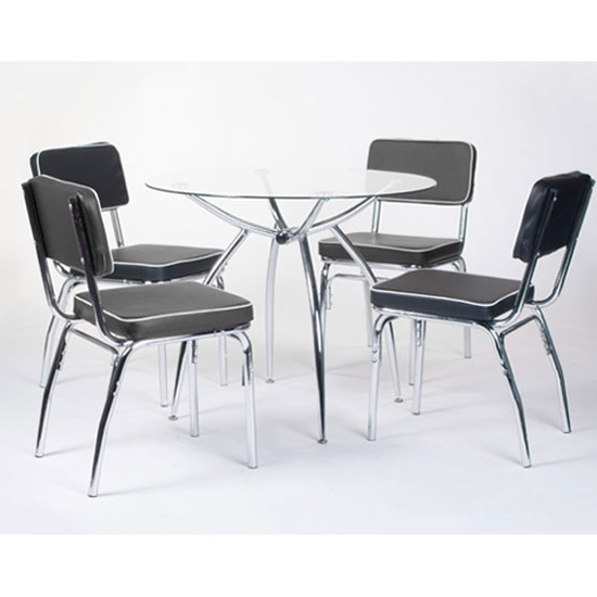 Retro Glass Dining Tables And Chairs Intended For Well Liked Retro Round Glass Dining Set With 4 Faux Lather Chairs (View 14 of 20)