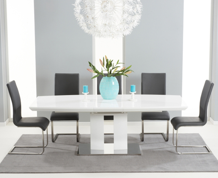 Richmond 180Cm White High Gloss Extending Dining Table With Malaga For Recent White Gloss Dining Room Tables (View 9 of 20)