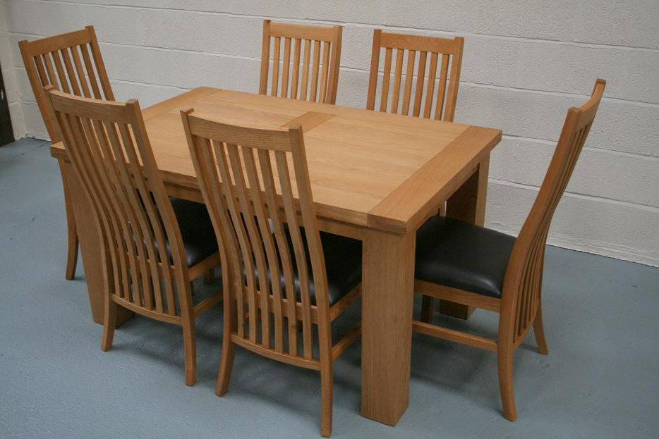 Riga Oak Table & Chair Set With Matching Winchester Chairs Intended For Most Current Light Oak Dining Tables And 6 Chairs (View 18 of 20)