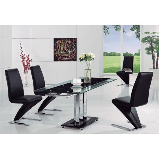 Rihanna Black Glass Extending Dining Table And 6 Z Dining Throughout Recent Black Glass Extending Dining Tables 6 Chairs (View 15 of 20)