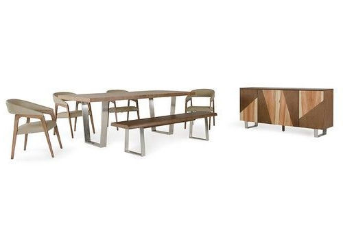 Rocco 7 Piece Extension Dining Sets Regarding Well Liked Modrest Byron Modern Walnut Dining Set (Gallery 12 of 20)