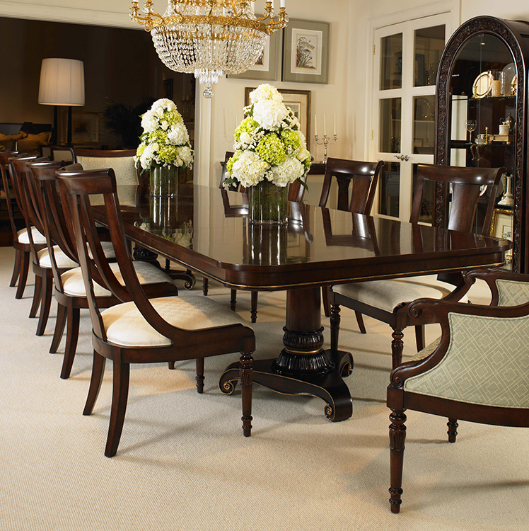 Rocco Extension Dining Tables For Widely Used 30h 304 – Wellington Court Double Ped Dining Table (View 19 of 20)