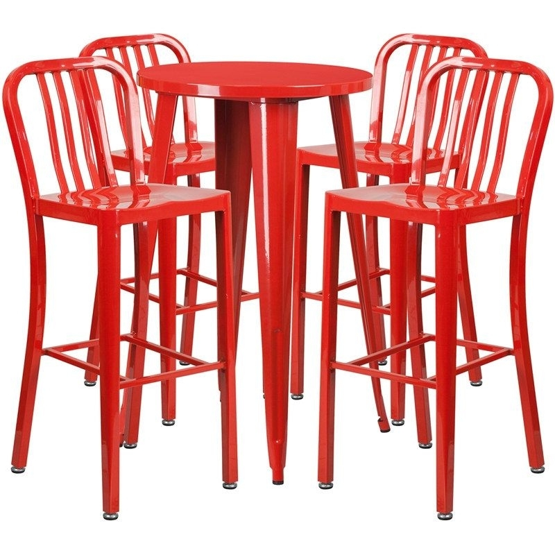 Rochelle Round 24'' Red Metal Table Set W/4 Vertical Slat Back Regarding Famous Candice Ii 5 Piece Round Dining Sets With Slat Back Side Chairs (View 7 of 16)