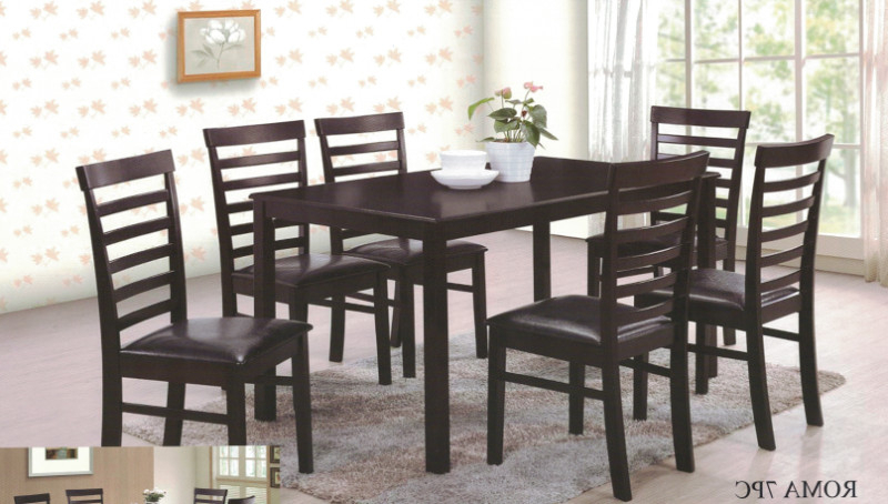 Roma Dining Tables And Chairs Sets For Current Roma 7pc 7 Pc Roma Espresso Finish Wood Dining Table Set (View 7 of 20)