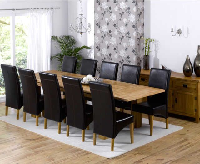 Roma Dining Tables And Chairs Sets Throughout Most Recently Released Texas Solid Oak Furniture Extended Dining Table With 10 Roma Chairs (View 9 of 20)