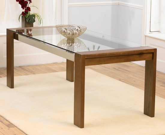 Roma Solid Walnut Dining Table With Chrome Struts And Glass Top For Most Recent Roma Dining Tables (View 17 of 20)