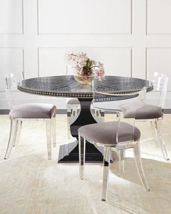 Round Acrylic Dining Tables Throughout Current Bernhardt Vivian Black Inlay Dining Table And Nessy Clear Acrylic (View 8 of 20)