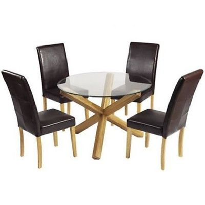 Round Bevelled Edge Glass Dining Table With Solid Oak Cross Legs Within Most Recent Round Glass Dining Tables With Oak Legs (View 17 of 20)