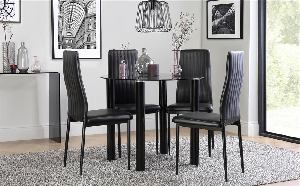 Round Black Glass Dining Tables And Chairs Inside Widely Used Solar Round Black Glass Dining Table With 4 Leon Black Chairs Only (View 17 of 20)