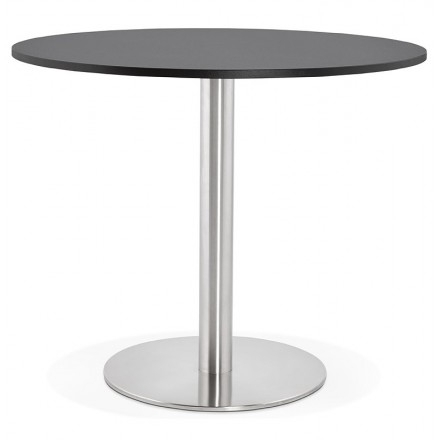 Round Dining Table Design Or Office Carla Wooden Chipboard And Metal In Most Recent Brushed Steel Dining Tables (View 8 of 20)