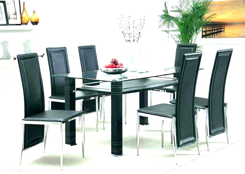 Round Dining Table Set For 6 6 Chair Dining Table Set Glass Top Throughout Most Popular Glass Dining Tables 6 Chairs (View 19 of 20)